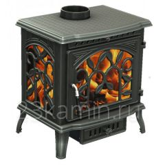 Печь-камин Demetra чугунная (патина медь)