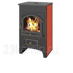 Печь-камин Везувий ПК - 01 красный с плитой 12 кВт дверка 205