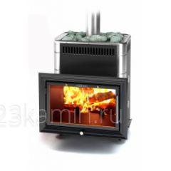 Печь Банная Витрувия антрацит Inox антрацит нержавеющими вставками, с теплообменником