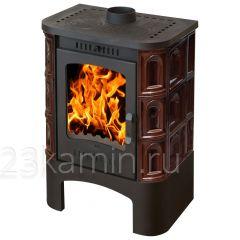 """Печь-камин """"Бавария"""" с чугунной плитой, изразцовая коричневая """"Арка"""""""